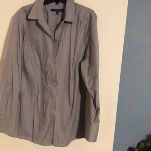 Apt 9 gray and white stripe 1X long sleeve blouse